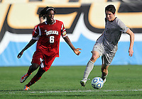 HOOVER, AL - DECEMBER 09, 2012: Femi Hollinger-Janzen (6) of Indiana University moves in on Andy Riemer (20) of Georgetown University during the NCAA 2012 Men's College Cup championship, at Regions Park, in Hoover , AL, on Sunday, December 09, 2012.