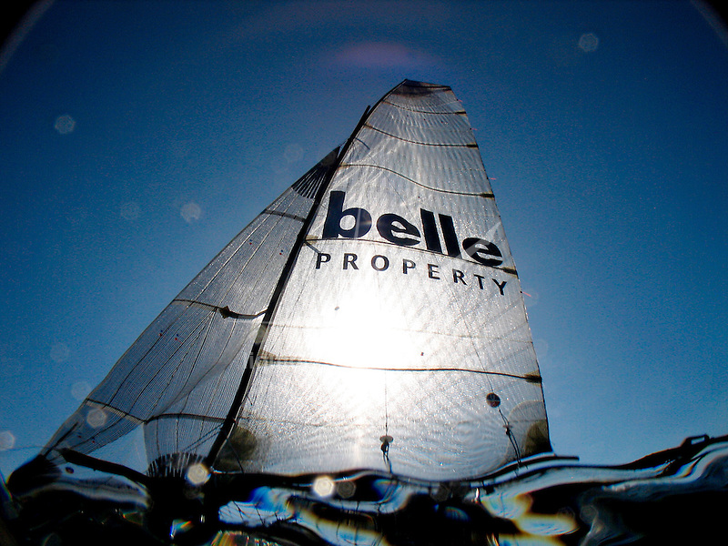 "Onboard the 18 Ft Skiff ""Belle Property"" during a training session in Sydney Harbour.."