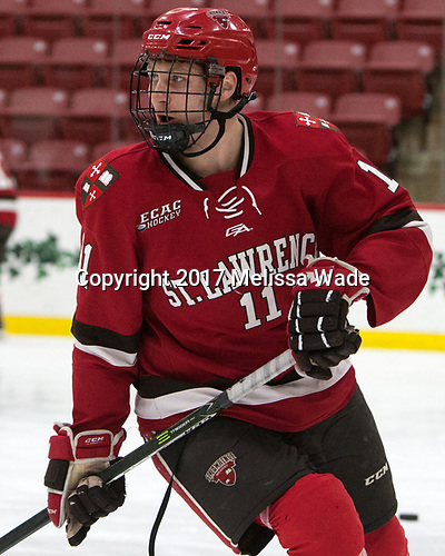 Carson Gicewicz (SLU - 11) - The Harvard University Crimson defeated the St. Lawrence University Saints 6-3 (EN) to clinch the ECAC playoffs first seed and a share in the regular season championship on senior night, Saturday, February 25, 2017, at Bright-Landry Hockey Center in Boston, Massachusetts.
