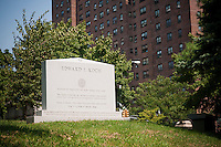 The tombstone of former NYC Mayor Edward I. Koch, who is not dead yet, in the Trinity Church Cemetery and Mausoleum in the New York neighborhood Washington Heights, seen on Thursday, September 2, 2010. Koch wanted to be buried in Manhattan and the historic graveyard, dating back to 1843 is the only active cemetery left in Manhattan. (© Richard B. Levine)