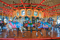 Santa Monica CA Carousel, Merry Go-Round Spinning (Carousel) Horses, Pacific Park, Rides,