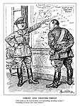 """Thrust and Counter-thrust. """"This attack on the accursed Reds - is it proceeding according to plan?"""" """"According to whose plan, mein Fuehrer?"""" (Goering responds to Hitler infront of a Map of the Eastern Front showing Russian and German military advances)"""
