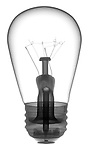 X-ray image of incandescent lightbulb (black on white) by Jim Wehtje, specialist in x-ray art and design images.