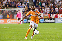 Luiz Camargo (17) of the Houston Dynamo. The New York Red Bulls defeated the Houston Dynamo 2-0 during a Major League Soccer (MLS) match at Red Bull Arena in Harrison, NJ, on August 10, 2012.