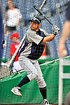 21 June 2011: Seattle Mariners right fielder Ichiro Suzuki takes batting practice prior to a game against the Washington Nationals at Nationals Park in Washington, District of Columbia. The Nationals rallied from a 5-1 deficit, scoring 5 runs in the bottom of the 9th, to defeat the Mariners 6-5 in inter-league play. Mandatory Credit: Ed Wolfstein Photo