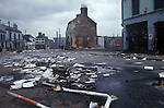 Belfast The Troubles. 1980s. Falls Road, Catholic area of Belfast after a road barricade has been removed following rioting.