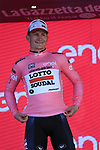 Andre Greipel (GER) Lotto-Soudal wins Stage 2 and takes over the race leader's Maglia Rosa of the 100th edition of the Giro d'Italia 2017, running 221km from Olbia to Tortoli, Sardinia, Italy. 6th May 2017.<br /> Picture: Eoin Clarke | Cyclefile<br /> <br /> All photos usage must carry mandatory copyright credit (&copy; Cyclefile | Eoin Clarke)