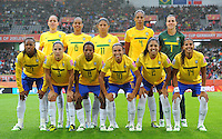 Starting eleven of team Brazil, background left - right: Erika, Rosana, Cristiane, Aline and Andreia; Frontline left to right: Ester, Daiane, Formiga, Marta, Maurine and Fabiana during the FIFA Women's World Cup at the FIFA Stadium in Wolfsburg, Germany on July 3rd, 2011.