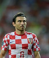FUSSBALL  EUROPAMEISTERSCHAFT 2012   VORRUNDE Kroatien - Spanien                 18.06.2012 Danijel Pranjic  (Kroatien) enttaeuscht