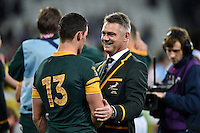 South Africa Head Coach Heyneke Meyer speaks with Jesse Kriel of South Africa after the match. Rugby World Cup Bronze Final between South Africa and Argentina on October 30, 2015 at The Stadium, Queen Elizabeth Olympic Park in London, England. Photo by: Patrick Khachfe / Onside Images