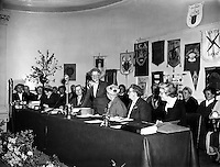 "Irish Country Women's Association annual General Meeting at Mansion House.17/04/1958..The Irish Countrywomen's Association (ICA) is the largest women's organisation in Ireland, with over 15,000 members. Founded in 1910, it exists to prove social and educational opportunities for women and to improve the standard of rural and urban life in Ireland. Its central office is in Dublin..Two of its former presidents, Kit Ahern and Peggy Farrell, were nominated by the Taoiseach to serve in Seanad Éireann, the upper house of the Oireachtas (the Irish parliament). A third, Patsy Lawlor was elected to the Cultural and Educational Panel in 1981..The organisation has been campaigning for ""fair play"" for women who receive wrong cancer diagnosis, and in December 2007 it organised a meeting in Dublin of 1,100 women, one of a series of such meetings around Ireland."
