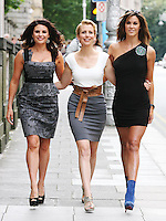 19/8/2010. TV3 SEASON LAUNCH. Expose presenters Lisa Cannon, Aisling O Laughlin and Glenda Gilsen are pictured on Kildare St Dublin for the launch of the TV3 Autumn season. Picture James Horan/Collins Photos.