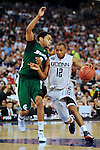 2009 APR 04: AJ Price (12) of the University of Connecticut drives to the basket in front of Chris Allen (3) of Michigan State University during the semifinal game of the 2009 NCAA Final Four Division I Men's Basketball championships held at Ford Field in Detroit, MI.  Michigan State defeated Connecticut 82-73 to advance to the championship game. Rich Clarkson/NCAA Photos