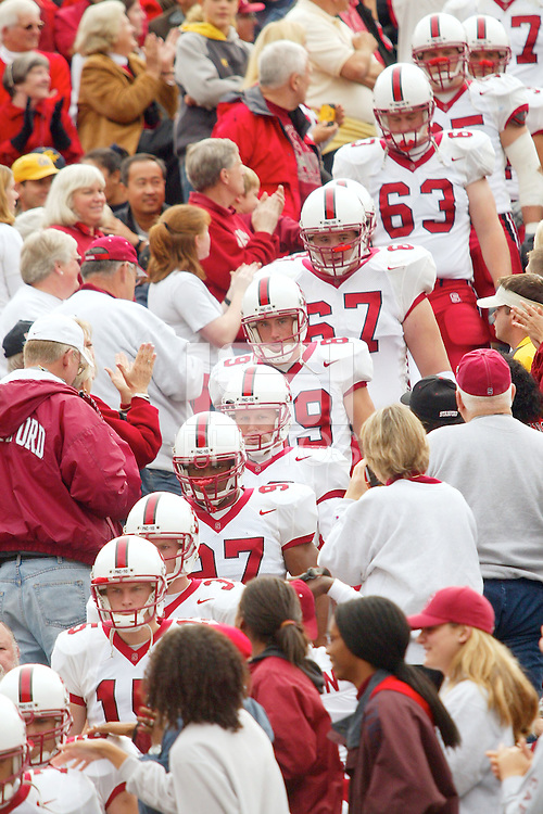 Travis James, Jason Goff, Kirk Chambers during Stanford's 30-7  loss to California on November 23, 2002.<br />