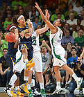 Mar 20, 2012;  California Golden Bears guard Layshia Clarendon (23) attempts to pass around Skylar Diggins (4) during the second half in the second round of the 2012 NCAA women's basketball tournament...Photo by Matt Cashore/University of Notre Dame