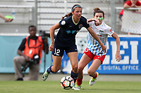 Cary, North Carolina  - Sunday May 21, 2017: Ashley Hatch and Arin Gilliland during a regular season National Women's Soccer League (NWSL) match between the North Carolina Courage and the Chicago Red Stars at Sahlen's Stadium at WakeMed Soccer Park. Chicago won the game 3-1.