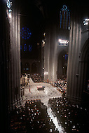 Washington National Cathedral - March 31, 1969. The casket at the funeral of President Dwight Eisenhower. The eulogy was later delivered by President Richard Nixon during funeral services at the National Cathedral. Dwight Eisenhower (October 14, 1890 - March 28, 1969) was the 34th President of the United States from 1953 until 1961, was a five-star general in the United States Army during World War II and was the first supreme commander of NATO.