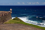 USA, Puerto Rico, San Juan. Garita, or sentry box, of San Cristobal Fort in Puerto Rico.