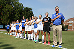 23 August 2015: Duke head coach Robbie Church (right) with his team. The Duke University Blue Devils played the Weber State University Wildcats at Fetzer Field in Chapel Hill, NC in a 2015 NCAA Division I Women's Soccer game. Duke won the game 4-0.