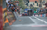 finish sprint at the Via Roma between Peter Sagan (SVK/Bora-Hansgrohe), Michal Kwiatkowski (POL/SKY) &amp; Julian Alaphilipe (FRA/QuickStep Floors)<br /> <br /> 108th Milano - Sanremo 2017
