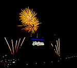4 September 2009: Fireworks entertain the fans after a Cleveland Indians Friday night game against the Minnesota Twins at Progressive Field in Cleveland, Ohio. The Indians defeated the Twins 5-2 to take the first game of their three-game weekend series. Mandatory Credit: Ed Wolfstein Photo