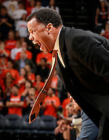 CHARLOTTESVILLE, VA- DECEMBER 6: Virginia Cavaliers associate head coach Ritchie mcKay reacts to a call during the game on December 6, 2011against the George Mason Patriots at the John Paul Jones Arena in Charlottesville, Virginia. Virginia defeated George Mason 68-48. (Photo by Andrew Shurtleff/Getty Images) *** Local Caption *** Ritchie McKay