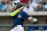 Shortstop Michael Paez (3) of the Columbia Fireflies bats in a game against the Lexington Legends on Sunday, April 23, 2017, at Spirit Communications Park in Columbia, South Carolina. Lexington won, 4-2. (Tom Priddy/Four Seam Images)