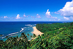 Ke'e Beach and the lush tropical landscape of the North Shore from the Kalalau Trail, Na Pali Coast, Island of Kauai, Hawaii.