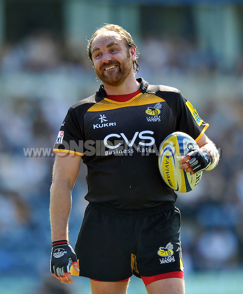 Andy Goode looks on during a break in play. European Champions Cup play-off, between London Wasps and Stade Francais on May 18, 2014 at Adams Park in High Wycombe, England. Photo by: Patrick Khachfe / JMP