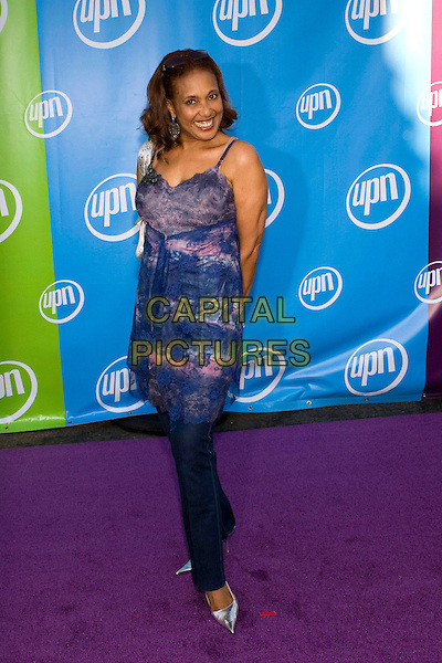 TELMA HOPKINS.UPN Summer Press Tour Party .Paramount Studios.Los Angeles, 21st July 2005.full length full-length jeans blue pattern lace dress silver pointy toe heels.www.capitalpictures.com.sales@capitalpictures.com.© Capital Pictures.