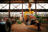Woman working in steel fabrication plant. Birmingham Alabama, Copperweld.