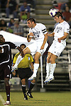 05 October 2007: Duke's Graham Dugoni (3) wins a header over teammate Michael Videra (10). Boston College defeated Duke University at Koskinen Stadium in Durham, North Carolina in an NCAA Men's soccer game.