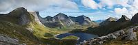 Scenic mountain valley around lake Fageråvatnet, Moskenesoy, Lofoten Islands, Norway