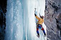 Ice climbing on the Rigid Designator, Vail, CO. Kurt Smith. Vail, Colorado.