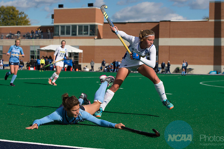 NORFOLK, VA - NOVEMBER 20:  Sam Night (5) of the University of North Carolina and Marjelle Scheffers (15) of the University of Delaware battle for the ball during the Division I Women's Field Hockey Championship held at the LR Hill Sports Complex on November 20, 2016 in Norfolk, Virginia.  Delaware defeated North Carolina 3-2 for the national title. (Photo by Jamie Schwaberow/NCAA Photos via Getty Images)