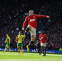 Football - Manchester United v Norwich City - Barclays Premier League - Old Trafford - 26/4/14 Wayne Rooney celebrates after scoring the first goal for Manchester United from the penalty spot Mandatory Credit: Action Images / Paul Currie Livepic