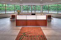 "The reception area of  the municipal building of the Frankfort Township in Frankfort, IL designed and constructed by Wight & Co. with a ""green"" roof in the background."