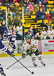 14 February 2015: University of Vermont Catamount Forward Bridget Baker, a Sophomore from Los Gatos, CA, leads a first period rush against the University of New Hampshire Wildcats at Gutterson Fieldhouse in Burlington, Vermont. The Lady Catamounts rallied from a 3-1 deficit to earn a 3-3 tie in the final home game of their NCAA Hockey East season. Mandatory Credit: Ed Wolfstein Photo *** RAW (NEF) Image File Available ***