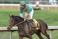 HOT SPRINGS, AR - APRIL 15:Badabing Badaboom #4, with jockey Richard Eramia aboard after the 5th race at Oaklawn Park on April 15, 2017 in Hot Springs, Arkansas. (Photo by Justin Manning/Eclipse Sportswire/Getty Images)