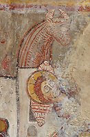 Detail of the Nativity scene, Jesus lying in a bed, 12th century frescoes in the choir of the Pre-Romanesque Chapel of Saint Martin de Fenollar (Sant Marti de Fenollar), 9th century, Maureillas Les Illas, Pyrenees Orientales, France. The frescoes are an outstanding piece of work, which greatly impressed modern artists, especially Pablo Picasso and Georges Braque in 1910. Picture by Manuel Cohen