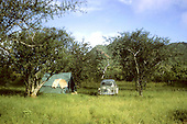 camping on wildlife reserve in Kenya