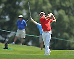 Keegan Bradley tees off on the 9th hole at the PGA FedEx St. Jude Classic at TPC Southwind in Memphis, Tenn. on Sunday, June 12, 2011.