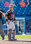 1 March 2017: Miami Marlins catcher Tomas Telis in Spring Training action against the Houston Astros at the Ballpark of the Palm Beaches in West Palm Beach, Florida. The Marlins defeated the Astros 9-5 in Grapefruit League play. Mandatory Credit: Ed Wolfstein Photo *** RAW (NEF) Image File Available ***