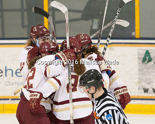 The Boston College Eagles defeated the Boston University Terriers 5-0 to win the Hockey East tournament on Sunday, March 6, 2016, at Merrimack's J. Thom Lawler Rink in North Andover, Massachusetts.