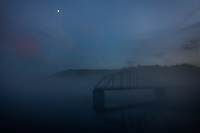 Savannah River fishing pier in fog.