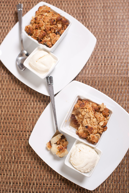 Foodland winter, Pear and Date crumble, with icecream,