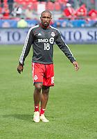 Toronto, Ontario - May 17, 2014: Toronto FC forward Jermain Defoe #18 warms-up before a game between the New York Red Bulls and Toronto FC at BMO Field. Toronto FC won 2-0.