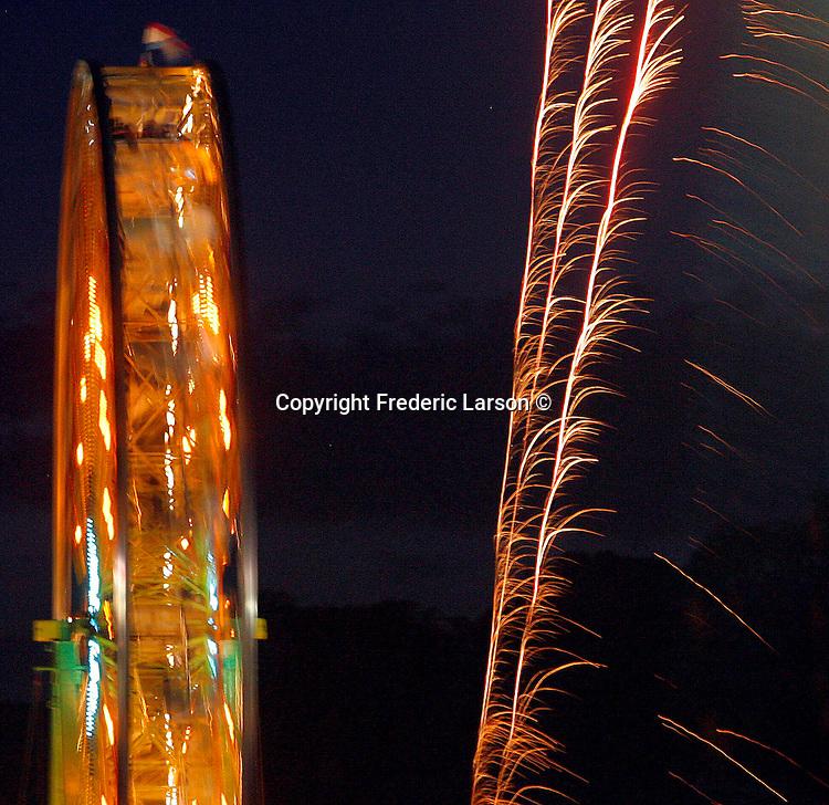 Ferris wheel spins at the Marin County Fair in San Rafael, California.
