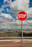 Red, Stop Sign, White Letters, Blue Sky, Clouds, Vertical
