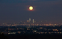 The super moon and the World Trade Center are seen from a state park in New Jersey, June 23, 2013, Photos by VIEWpress.